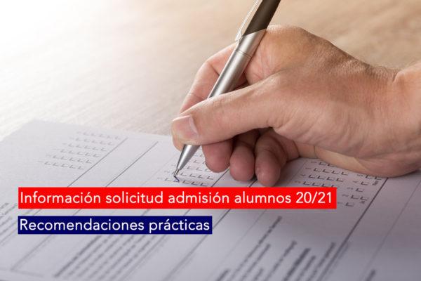 informacion solicitud admisión alumnos